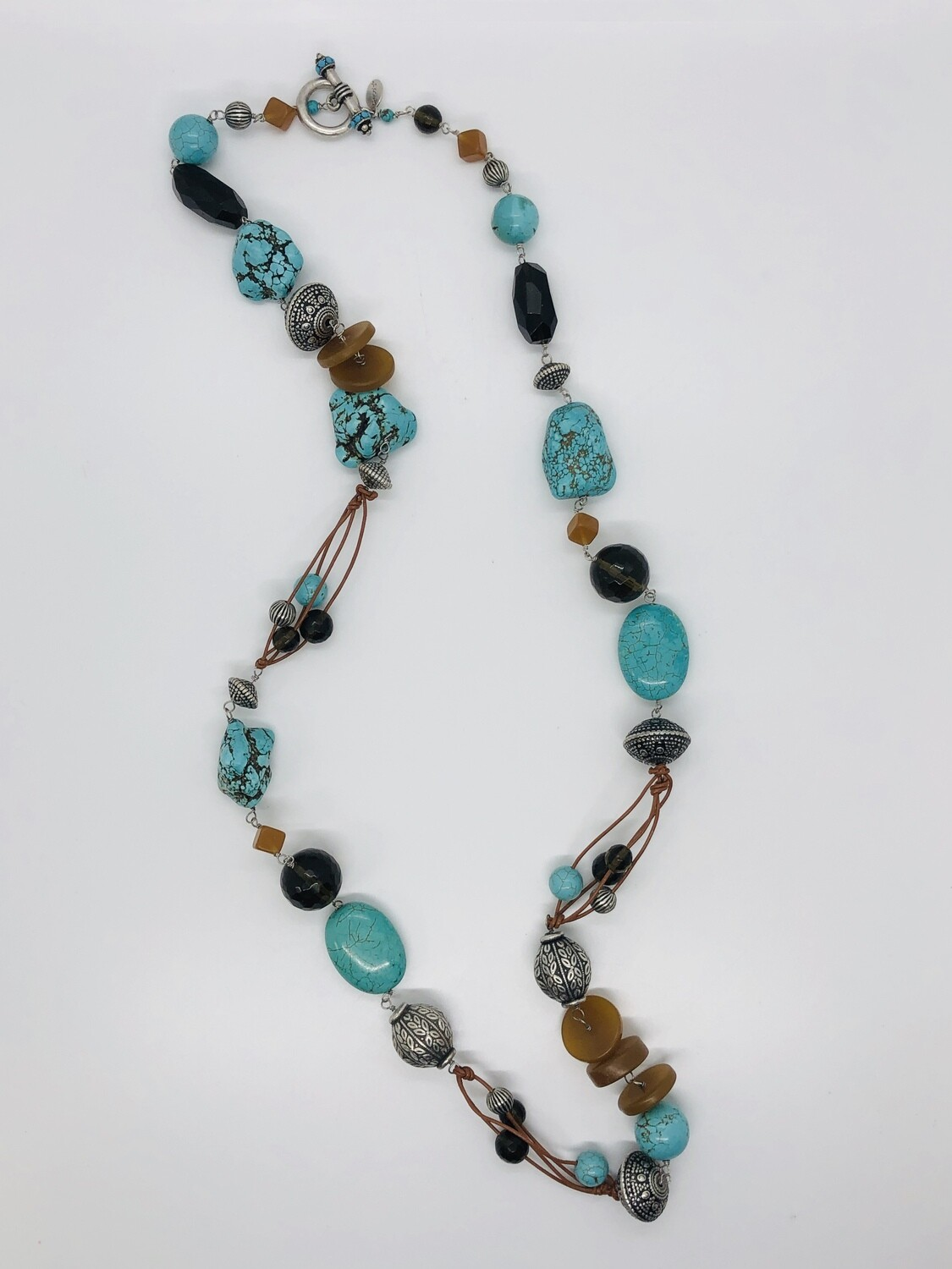 CHICO's Turquoise, Silver & Stone Beaded Long Toggle Necklace