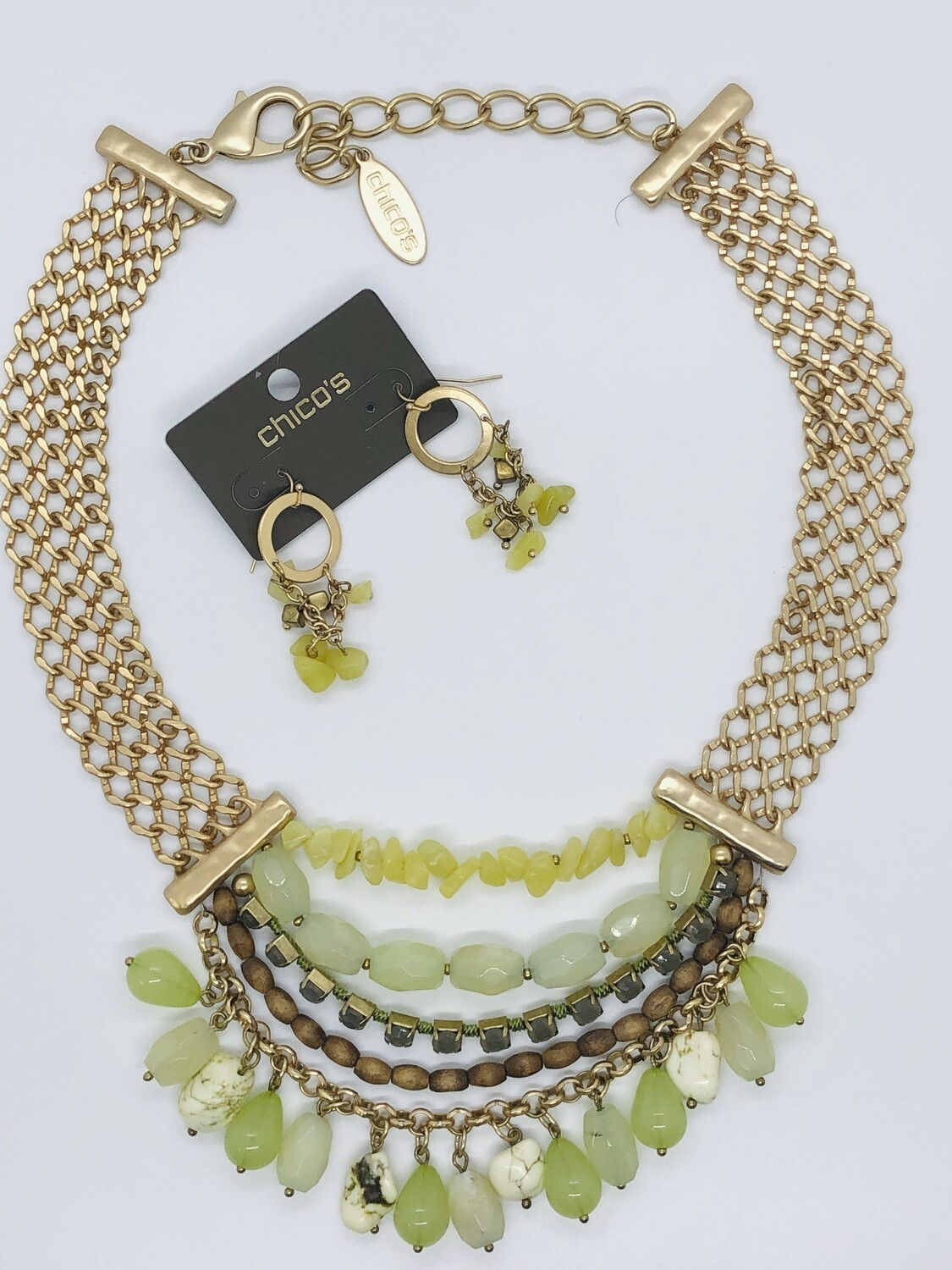2pc CHICO'S Brushed Gold Link & Multi Strand Bead Necklace Set