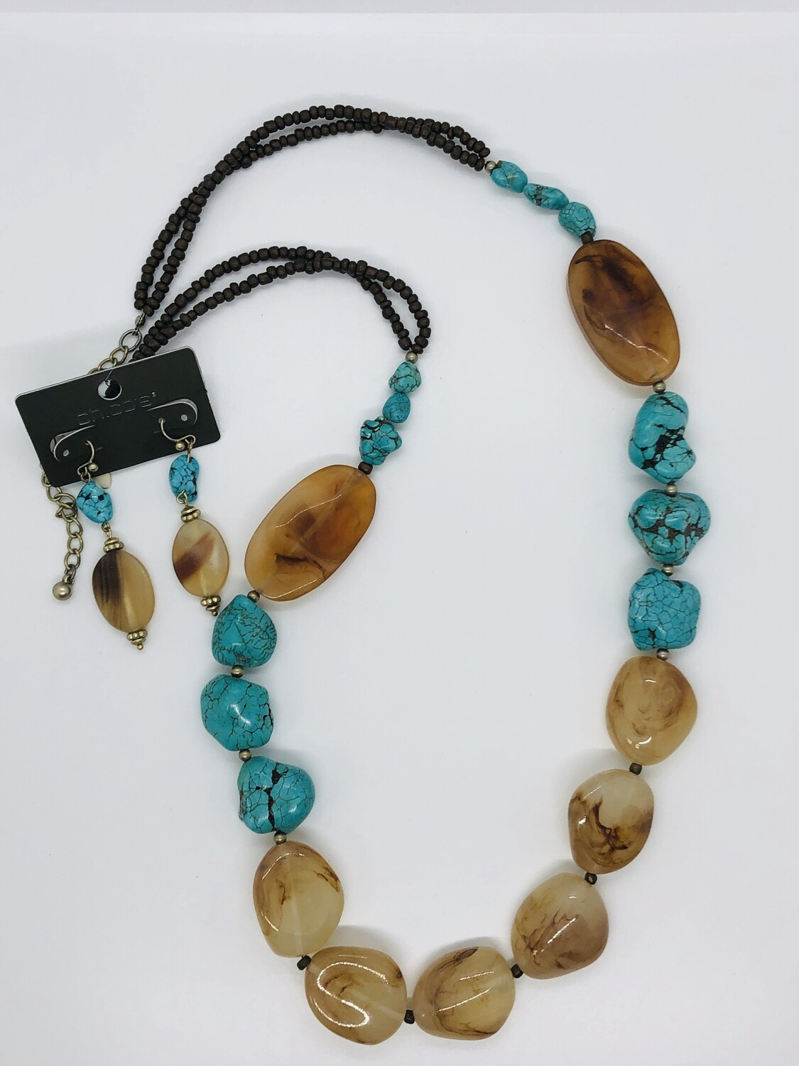 CHICO'S Turquoise & Large Beaded Necklace & Earring Set
