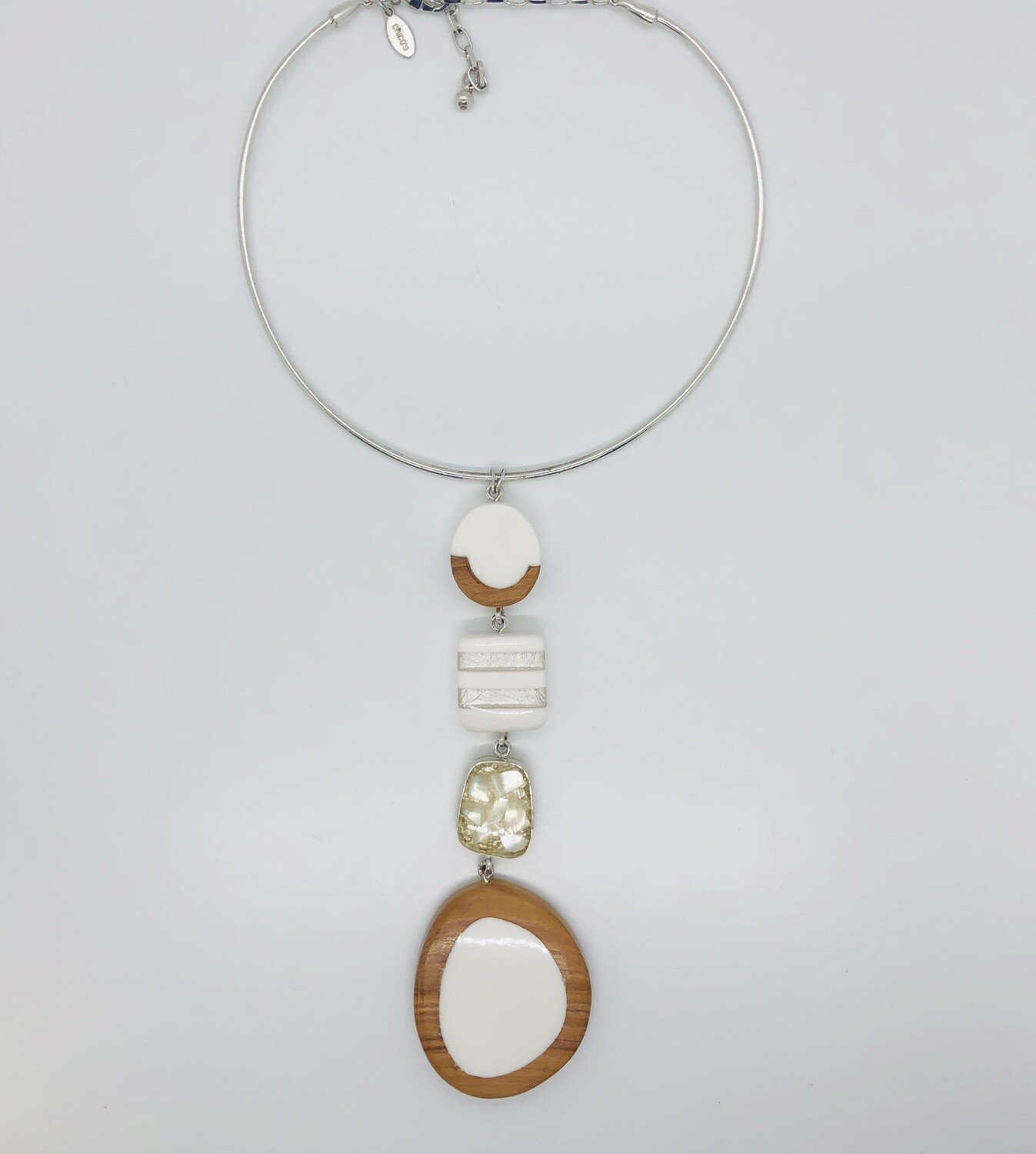 CHICO'S Silver Cable Necklace w/ Teak Wood & Large Stone Statement Pendant