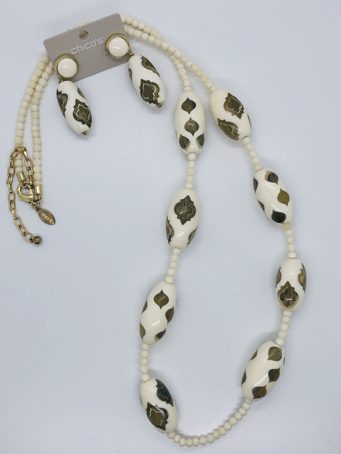 CHICOS Ivory Beaded Design Necklace & Earring Set