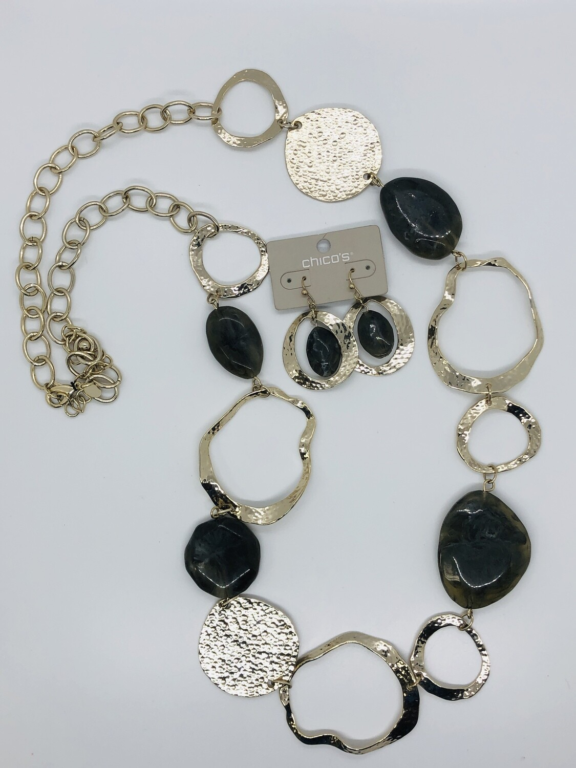 2pc CHICO'S Gold & Gray Stone Necklace(Belt) & Matching Earrings