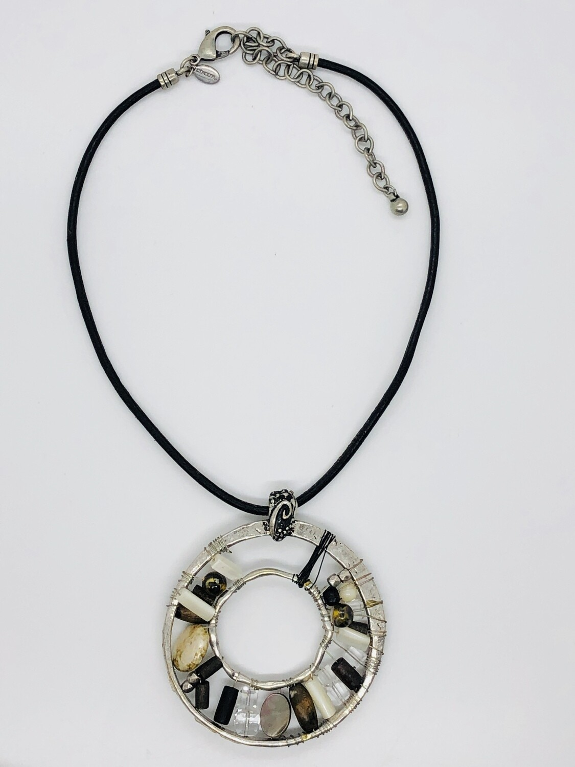 CHICO's Silver Beaded Medallion Necklace