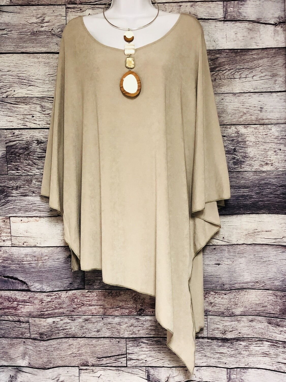 """New CHICOS """"Travelers"""" Asymetrical Top in Mushroom Size 4 (20/22) $89"""