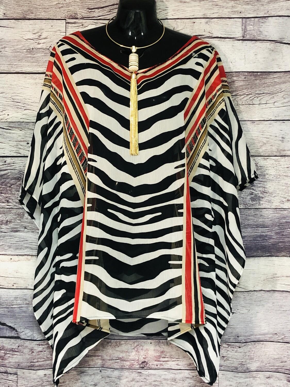 CHICO'S Zebra Print Kaftan Style Blouse size L/XL