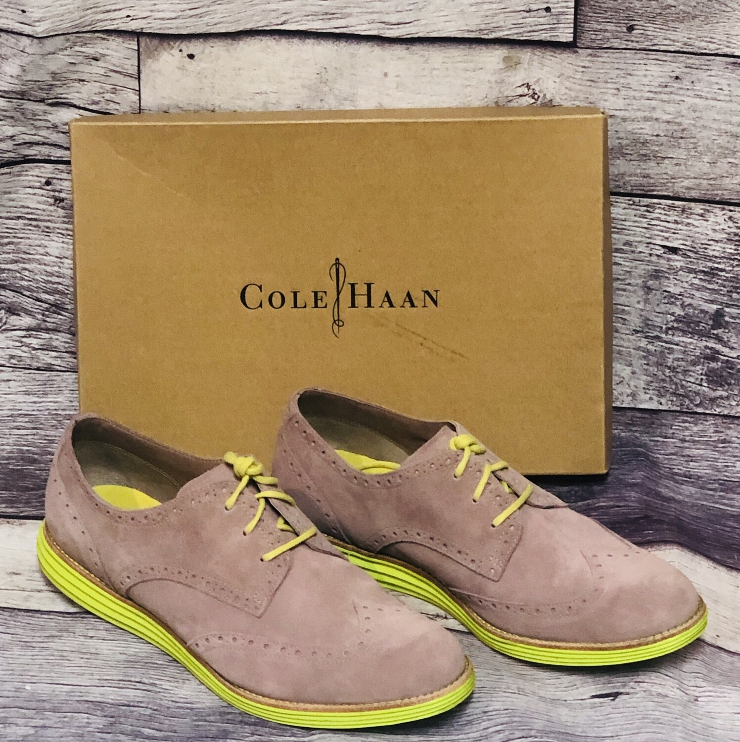 Ladies Cole Haan Lunagrand Lilac & Neon Suede Wing Tips size 10