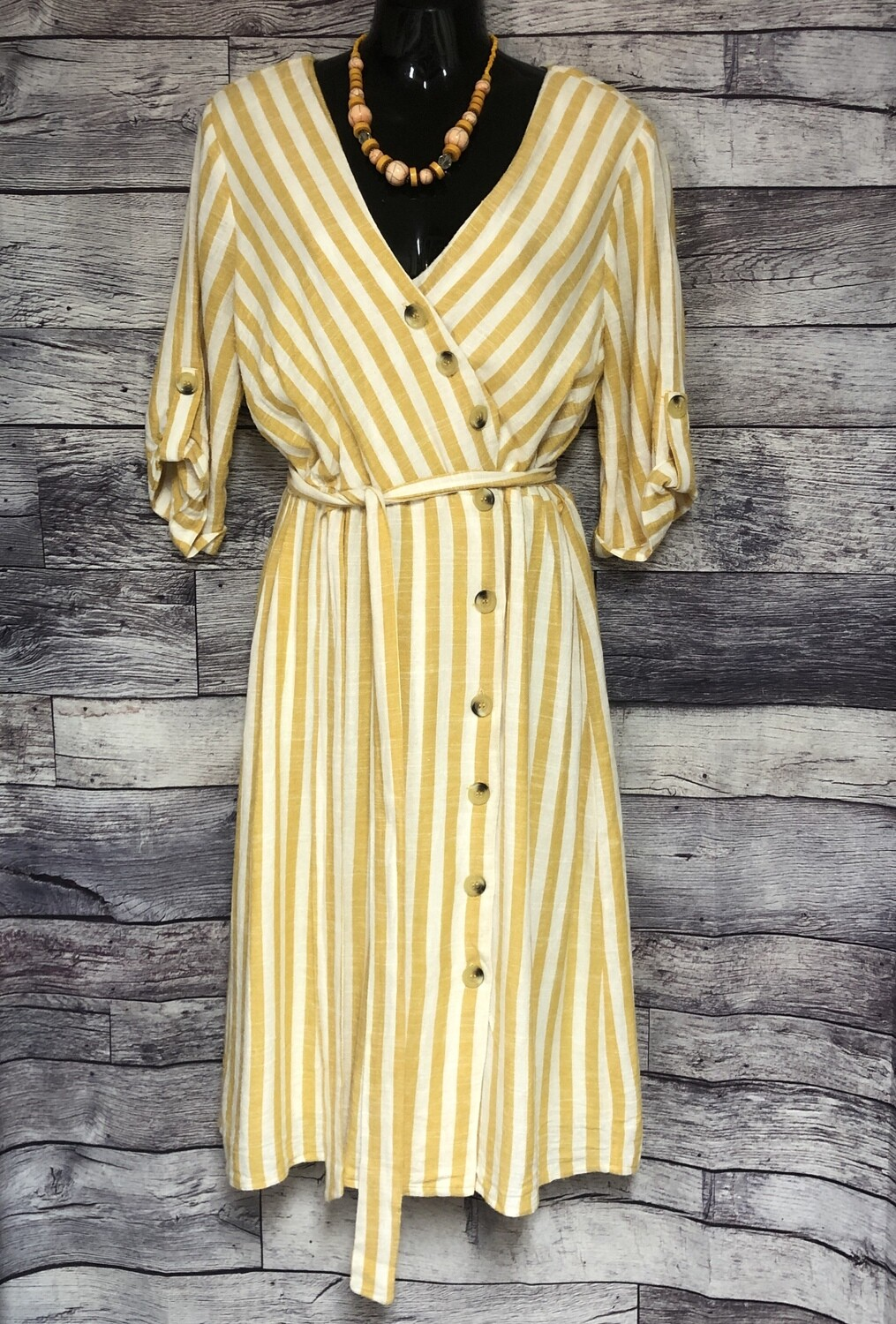 LILY BLACK Mustard & Cream Linen Angled Button Front Dress size Medium