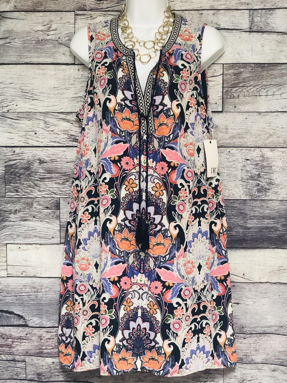 New DR2 Daniel Rainn Multi Color Floral Tunic Dress size Medium