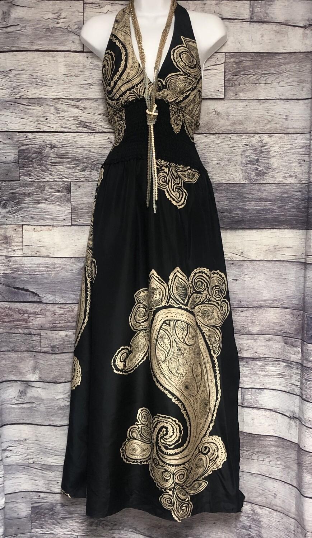 BCBG Black & Taupe Extreme Paisley Silk Halter Maxi Dress size XS