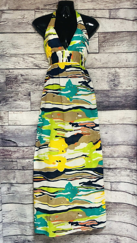 TRINA TURK Signature Multi Color Abstract Halter Dress size Medium