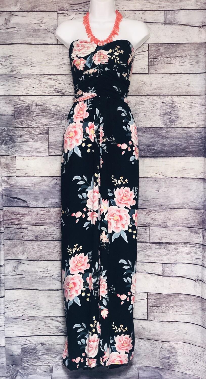 New XHILARATION Black Floral Halter Jumpsuit XL