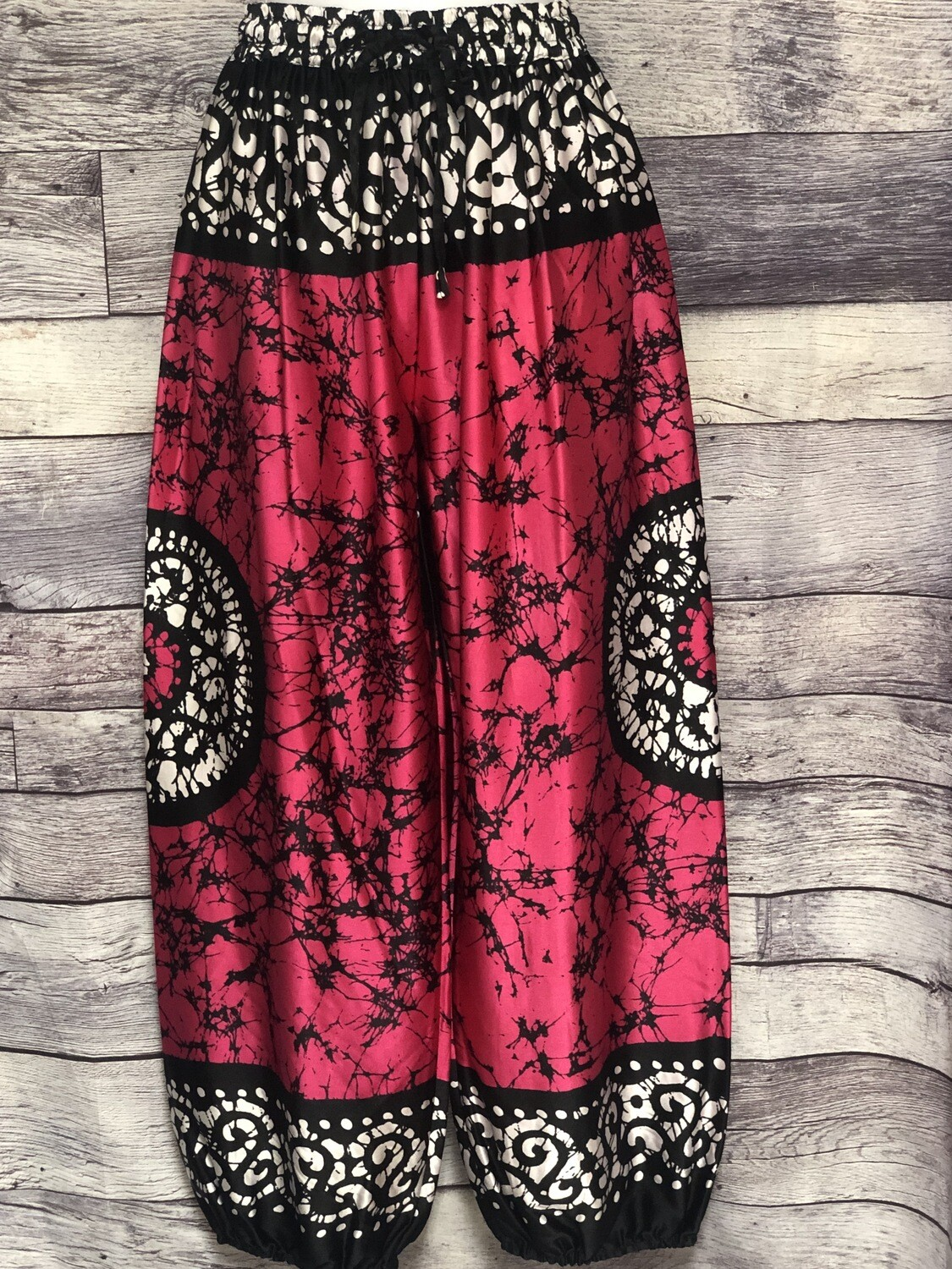 SAKKAS Rayon & Silk Abstract Genie Style Pants One Size Fits Most