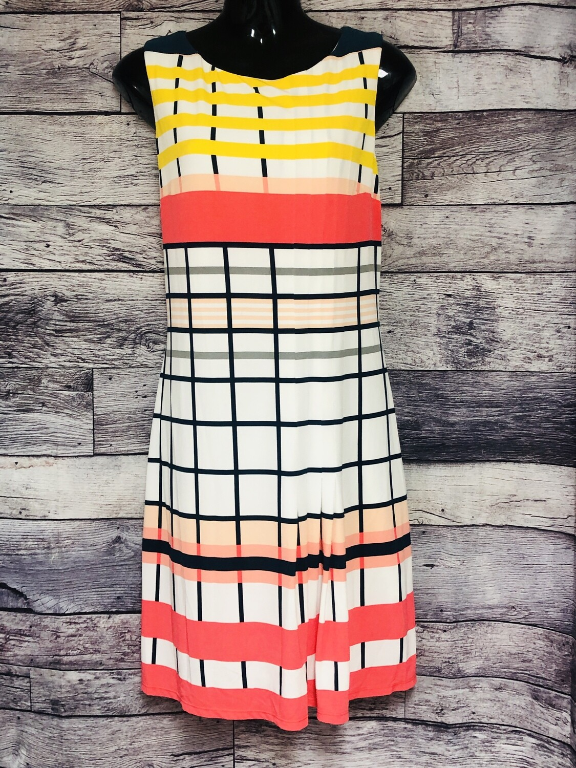 DONNA MORGAN Colorful Grid Pleat Shift Dress size 14