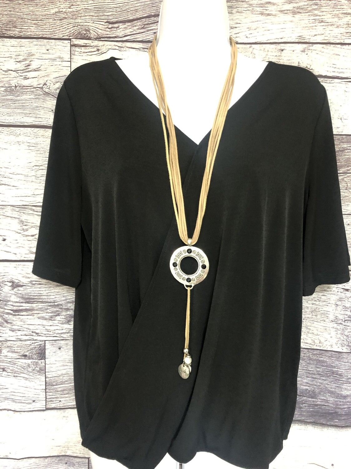 CHICOS Black Draping Short Sleeve Top size 1