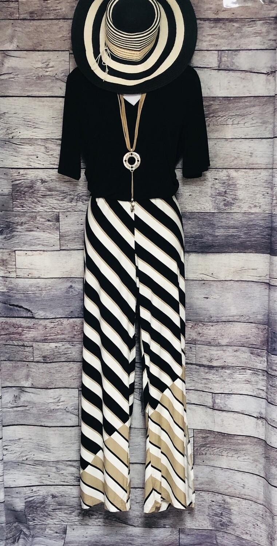 CHICOS  Zenergy Black White & Taupe Stripe Pants size 1