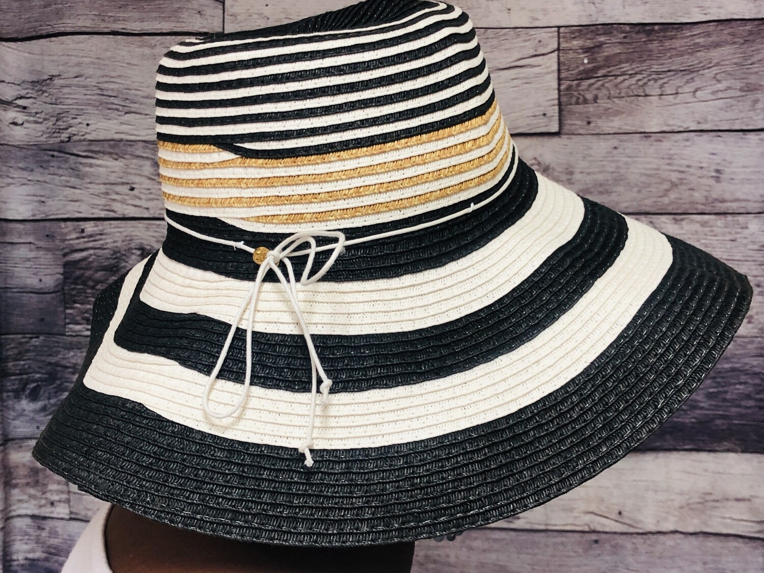 LANDS END Tri Color Straw Hat - One Size