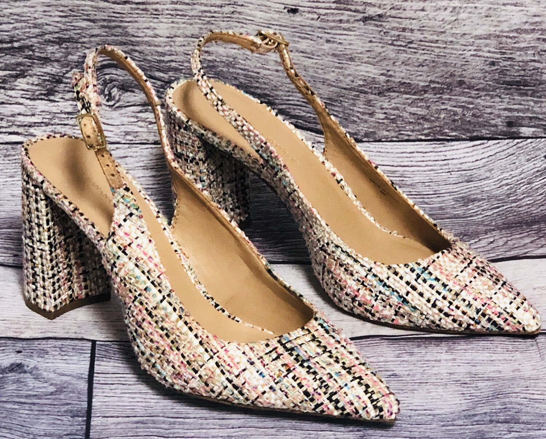 BANANA REPUBLIC Multi Color Woven Sling Back Chunky Heel Shoes size 9