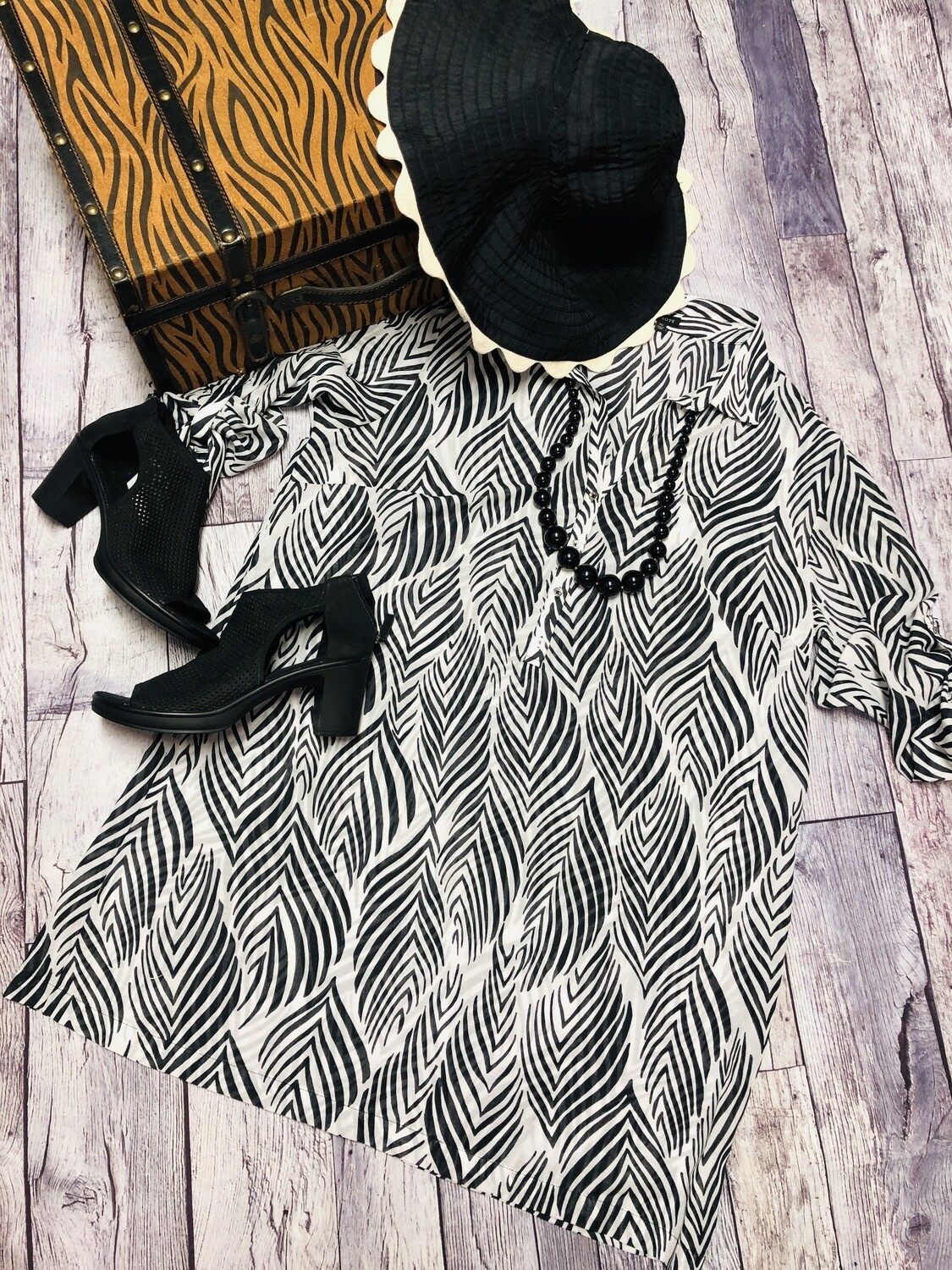 TALBOTS Zebra Stripe Long Cotton Tunic Blouse XL