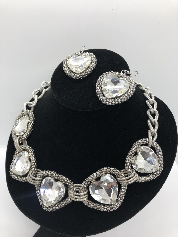 2pc TRACI LYNN Large Silver Rhinestone Heart Necklace & Earring Set
