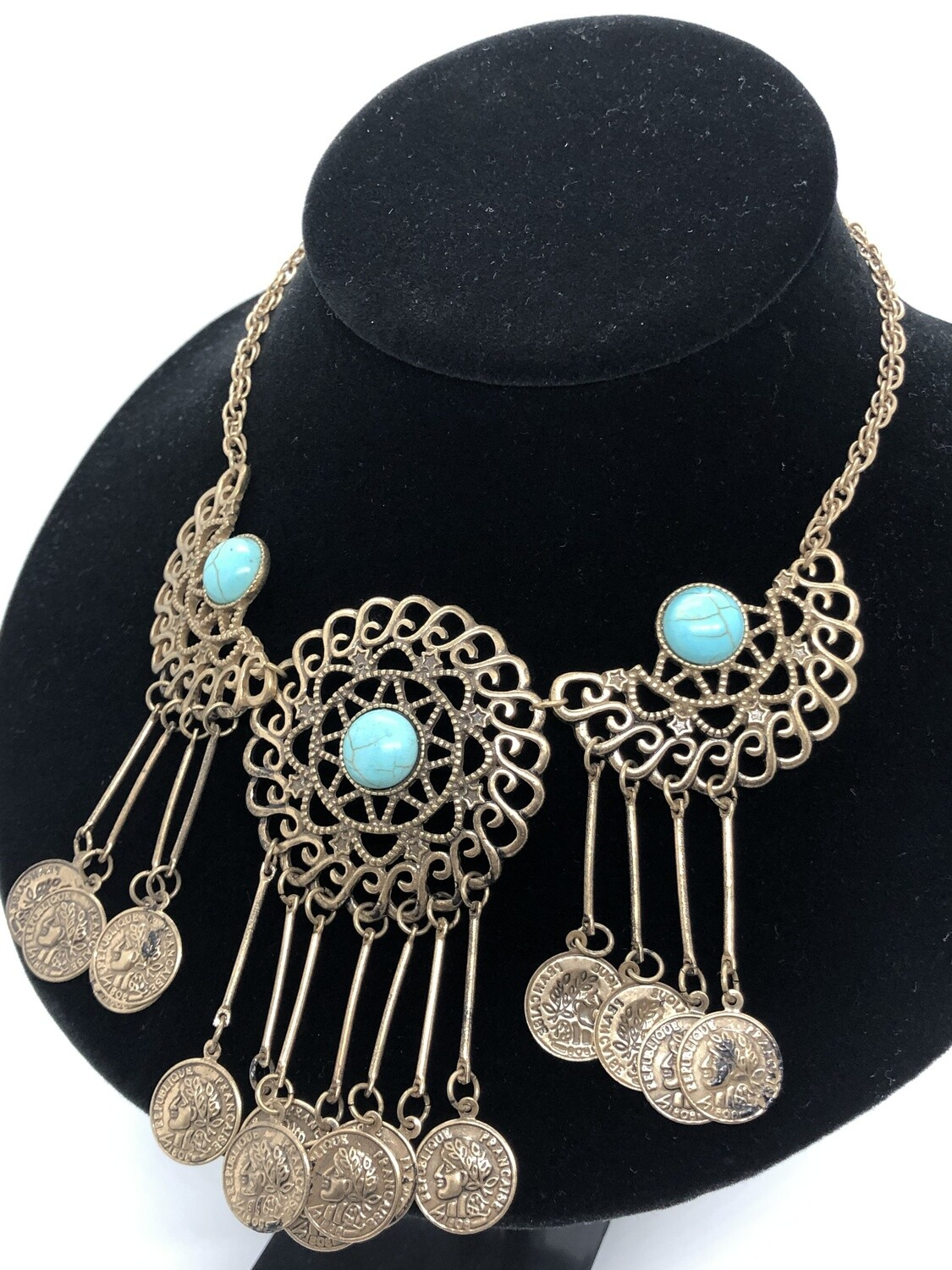 Brushed Gold Turquoise Medallion & Coin Necklace