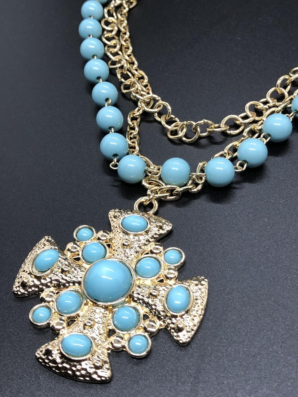 Triple Strand Bead & Gold Medallion Statement Necklace