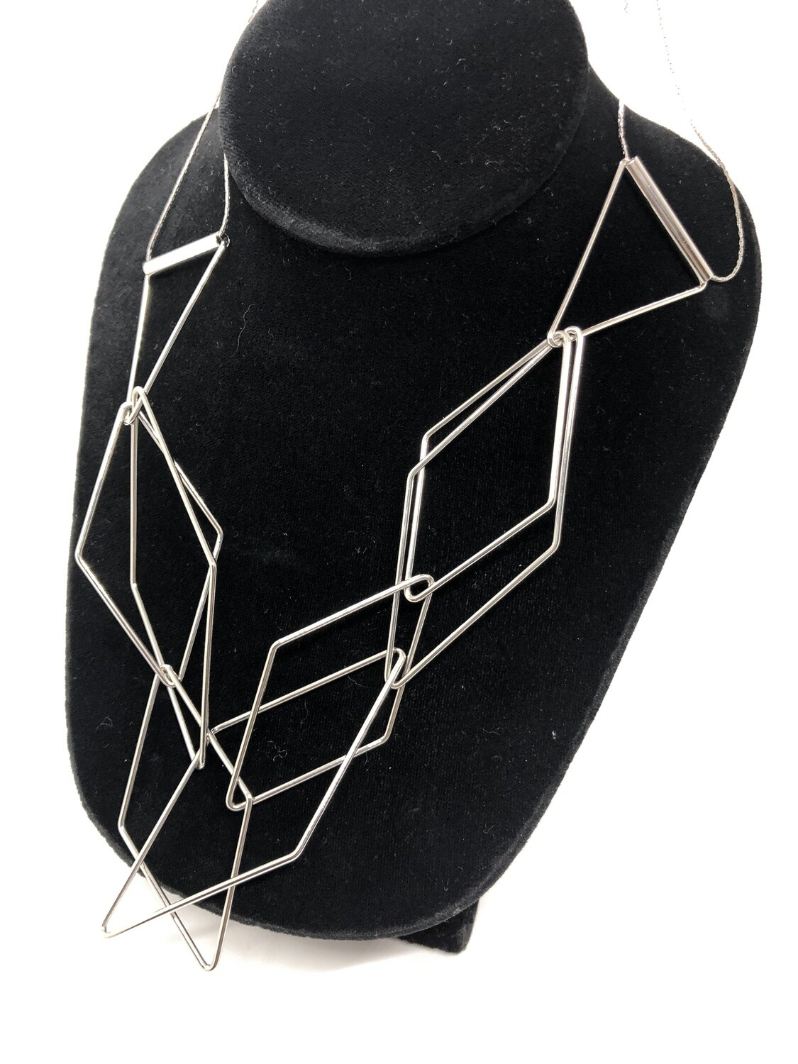 Abstract Silver Geometric Link Necklace