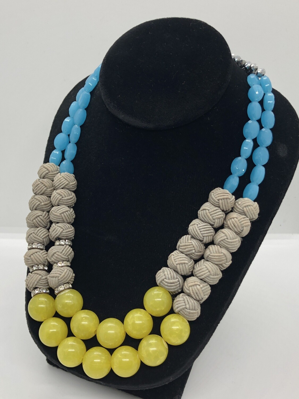 Artisan Multi Bead Double Strand Stone Toggle Necklace