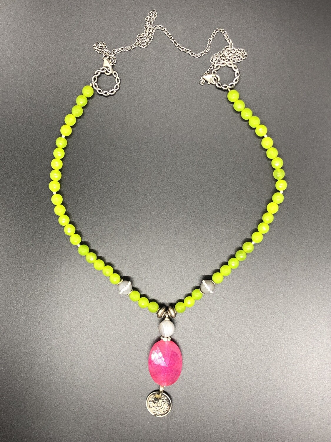Artisan Bright Green & Pink Glass Bead and Silver Link Necklace