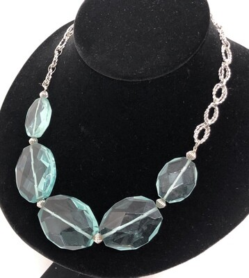Aqua Glass Stone & Silver Link Statement Necklace