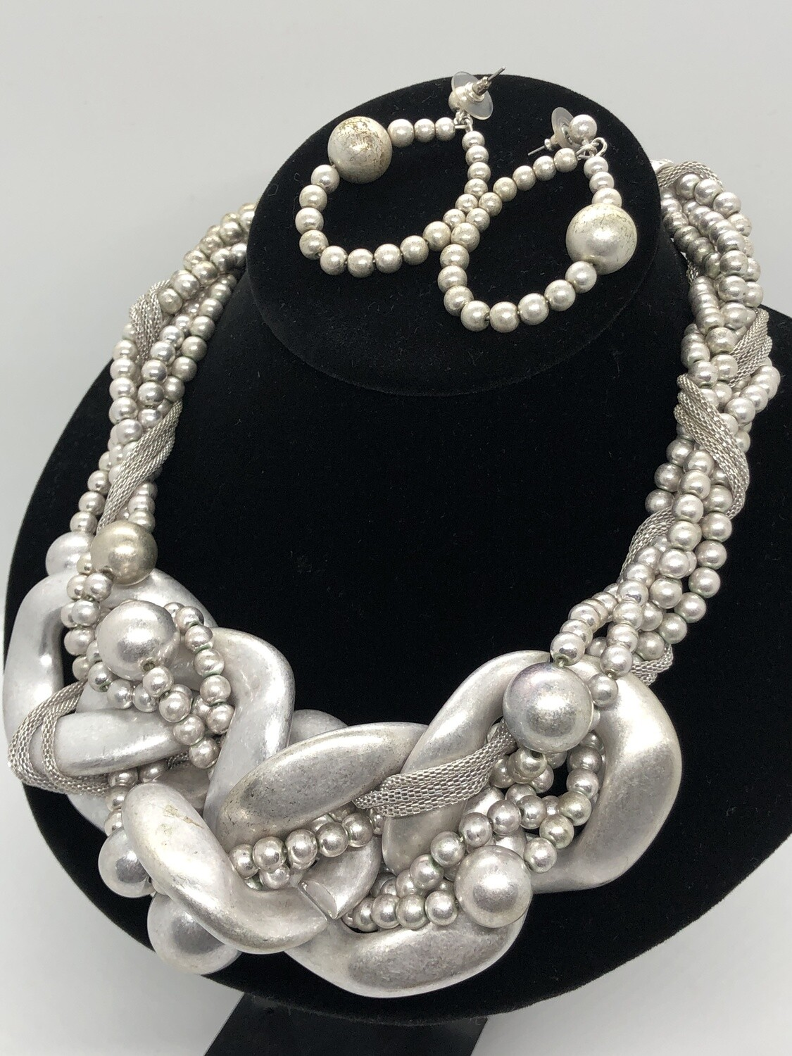 TRACI LYNN Silver Abstract Braided Statement Necklace & Earring Set