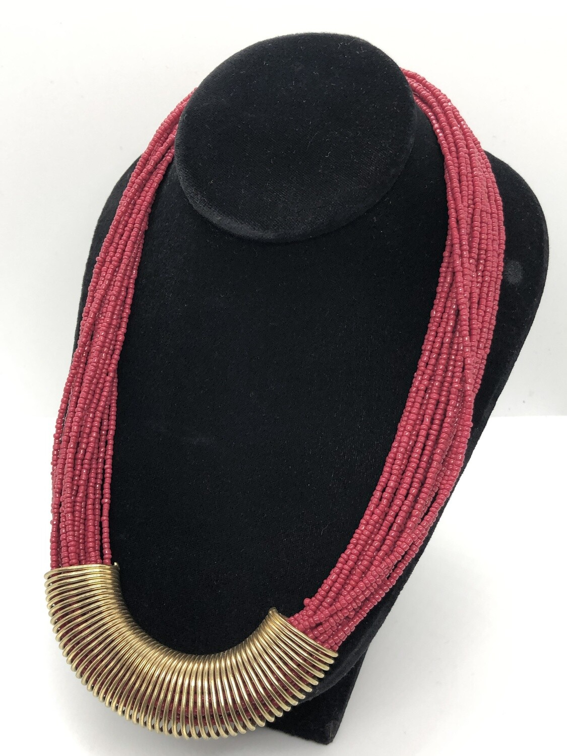 Multi Strand Beaded Gold Coil Statement Necklace