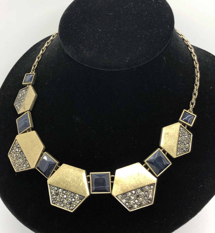 LOFT Brushed Gold & Rhinestone Encrusted Hexagon Statement Necklace