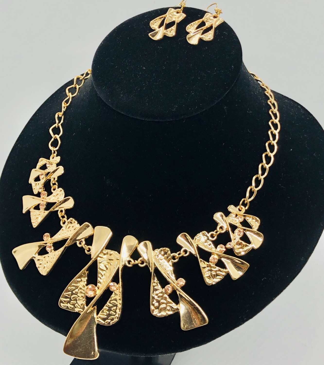2pc Abstract Gold & Rhinestone Necklace & Earring Set