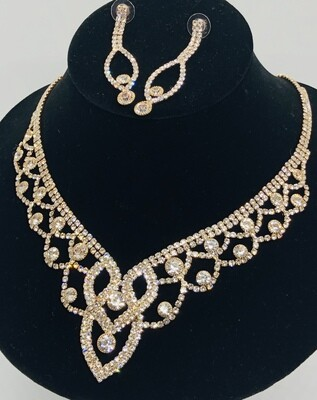 New 2pc. Rhinestone & Gold Statement Necklace and Earring Set