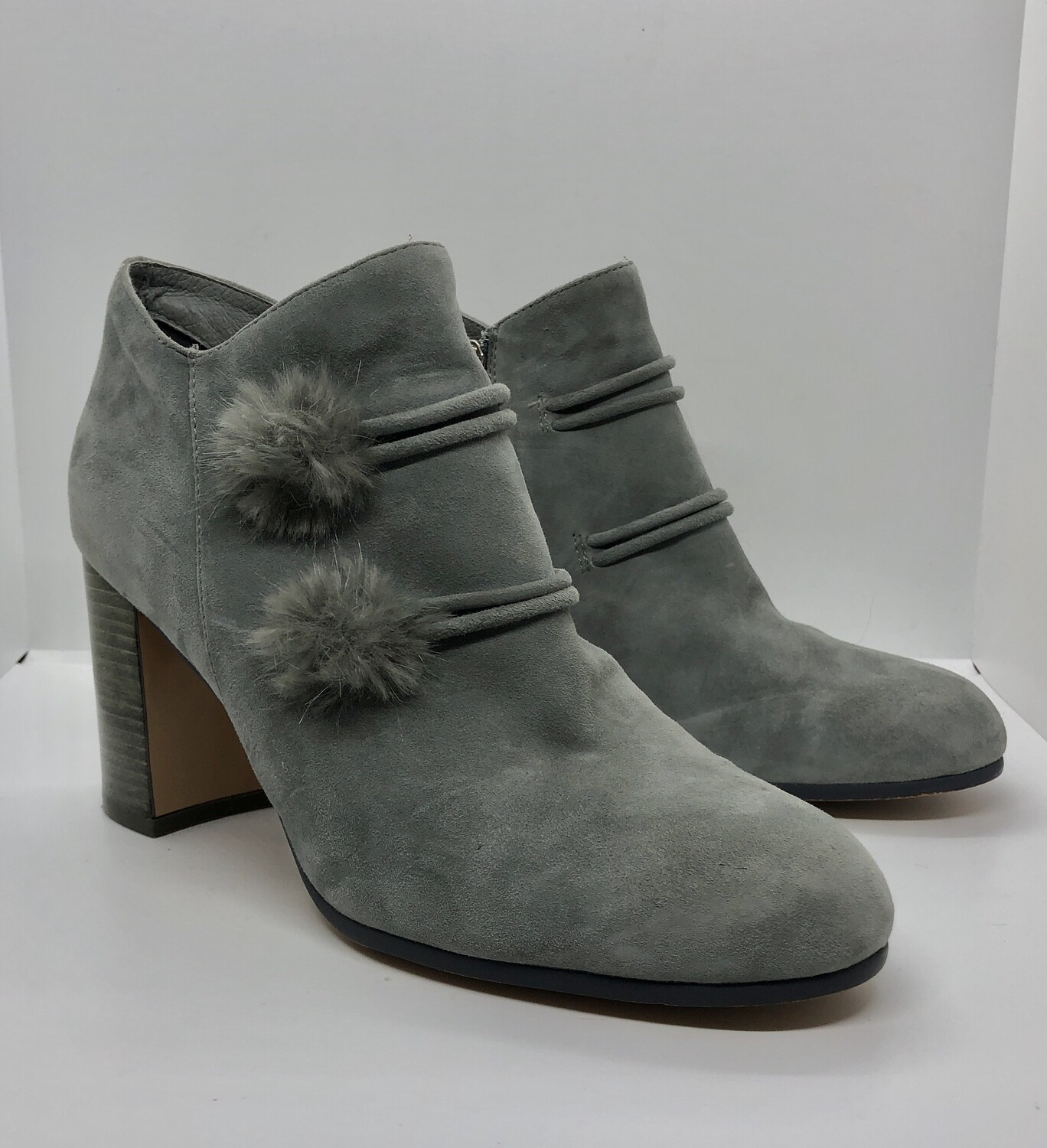SILENT D by Free People Gray Suede Pom-Pom Ankle Booties size 10