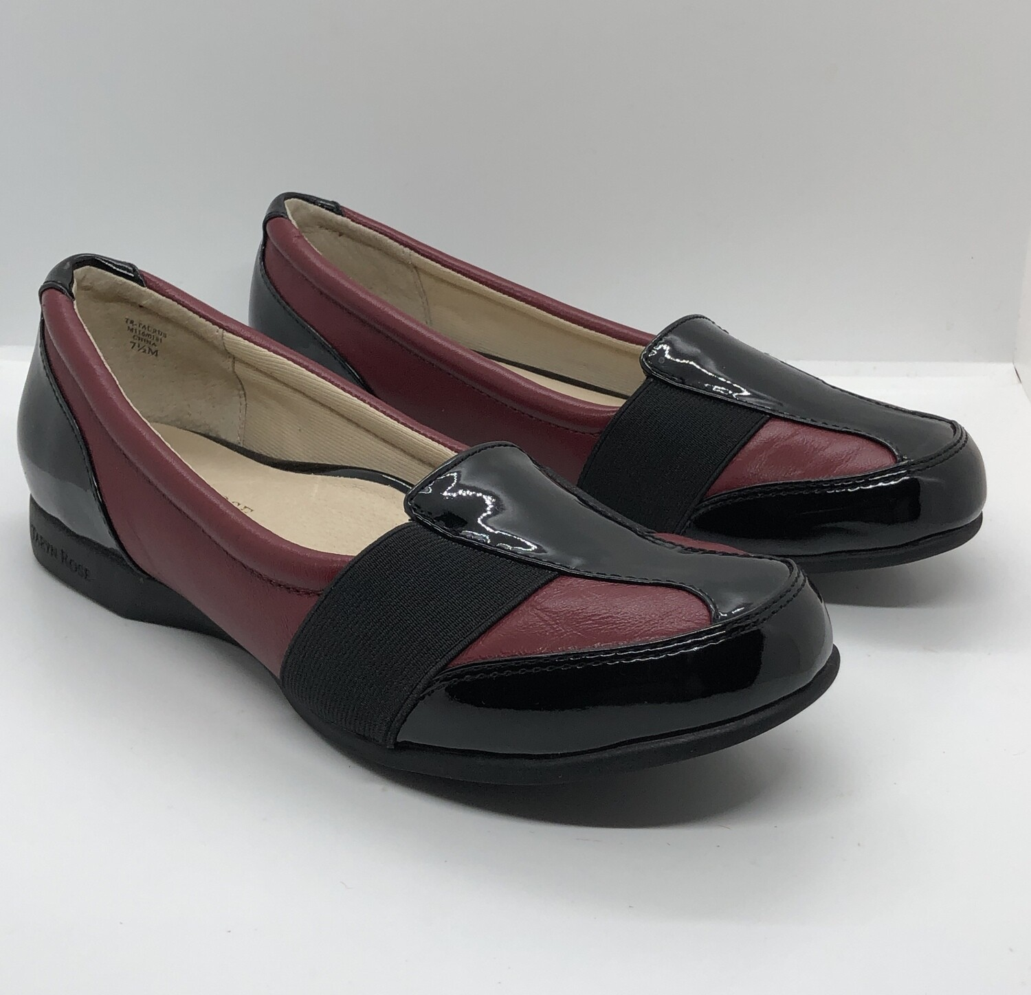 TARYN ROSE Traveler Crimson & Black Patent Leather Loafers Shoes size 7 1/2