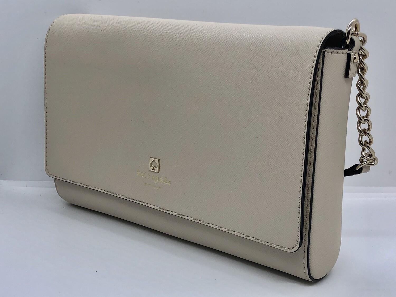 New KATE SPADE Cream Saffiano Leather Shoulder Bag