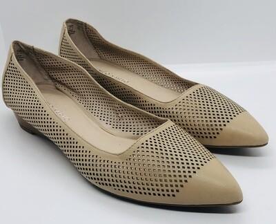 FRANCO SARTO Cream Perforated Leather Mini Wedge Point Toe Shoes size 10