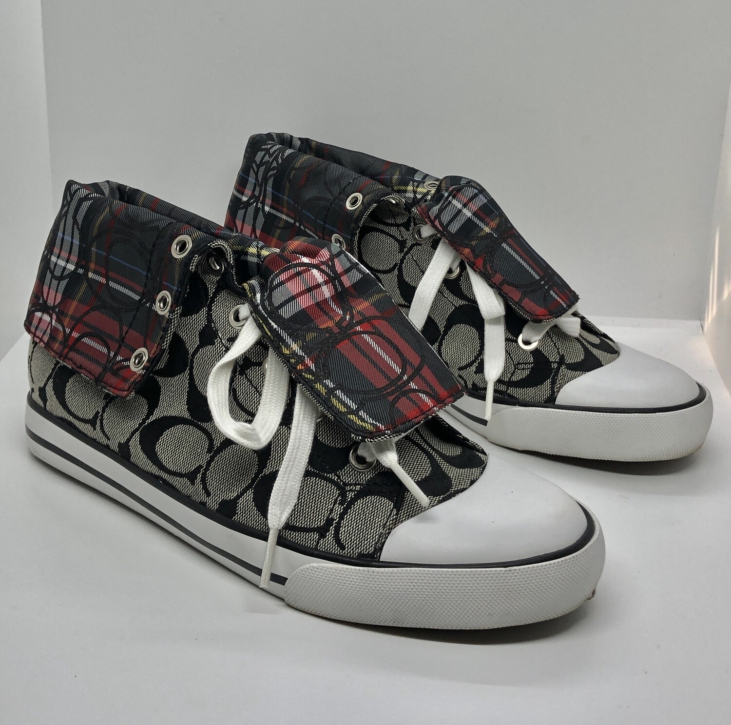 "Vintage COACH Signature ""Bonney"" 2-in-1 Hi-Top Cuff Sneakers 9"
