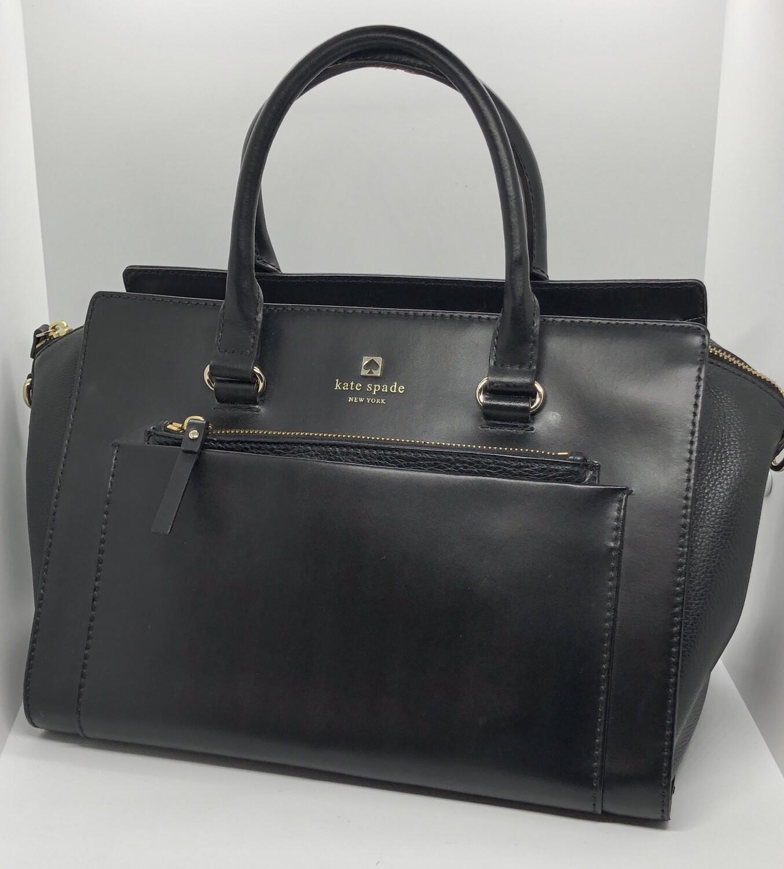 KATE SPADE Black Leather Double Handle Satchel Handbag