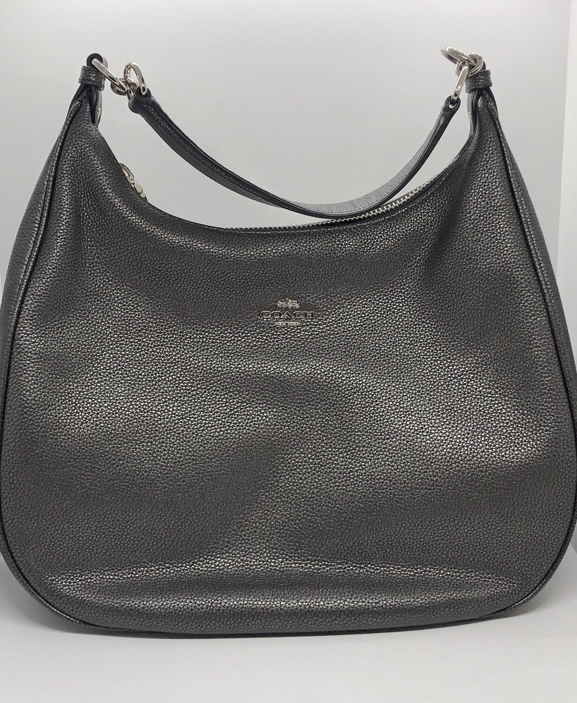 """COACH """"Harley"""" Metallic Pewter Pebble Leather Hobo Handbag"""