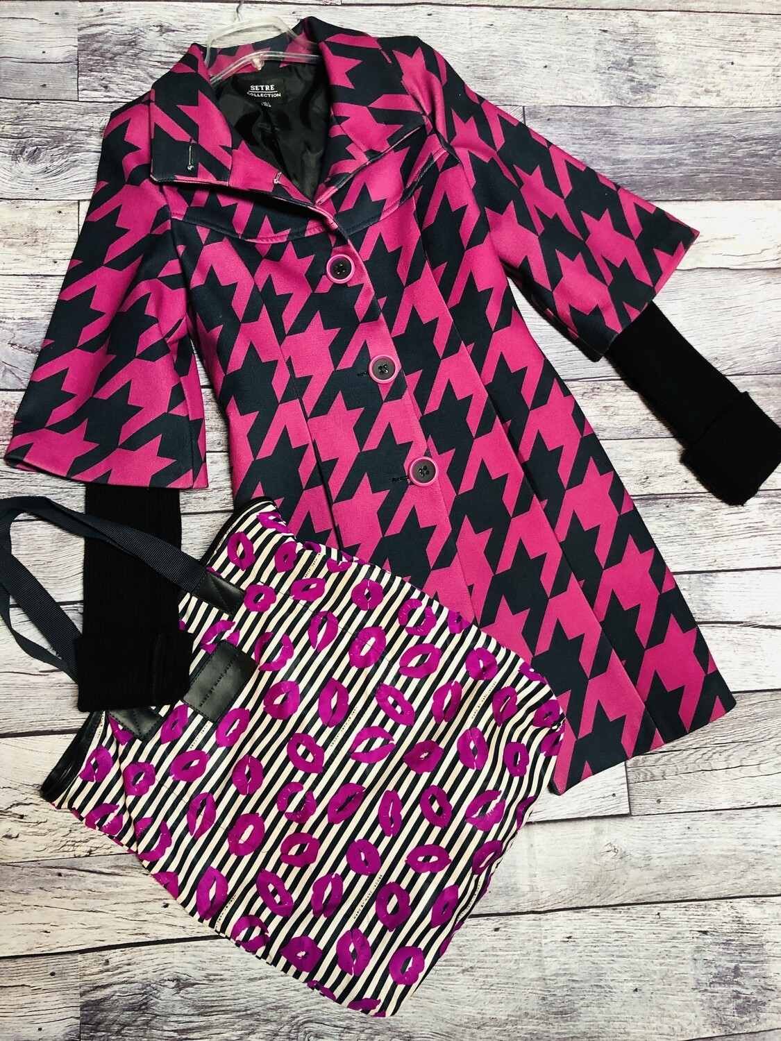 SETRE Collection Houndstooth Coat with Sweater Sleeves size Small