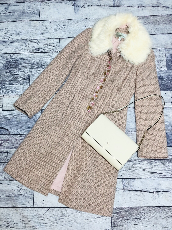 BETH BOWLEY Pink & Beige Tweed Wool Overcoat w/ Faux Fur Collar size 4