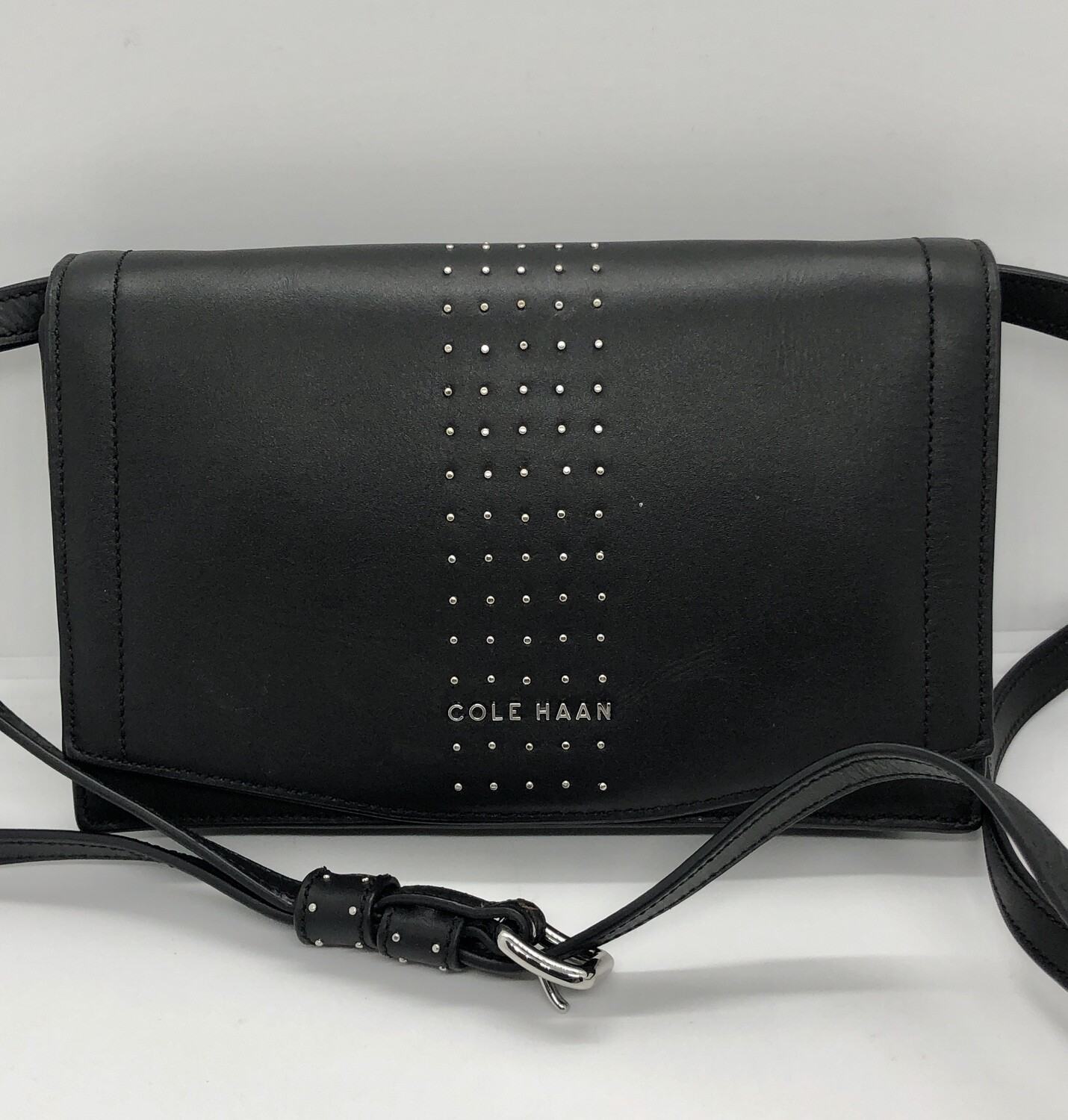 Cole Haan Black Leather Silver Rivet Crossbody Handbag