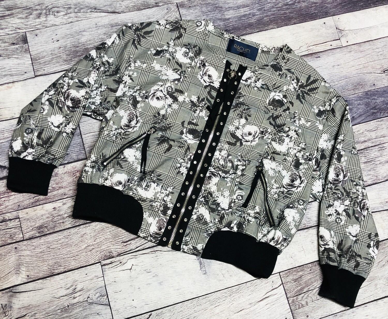 RACHEL ROY B/W Floral Plaid Rivet Zip Front Crop Jacket size 1X