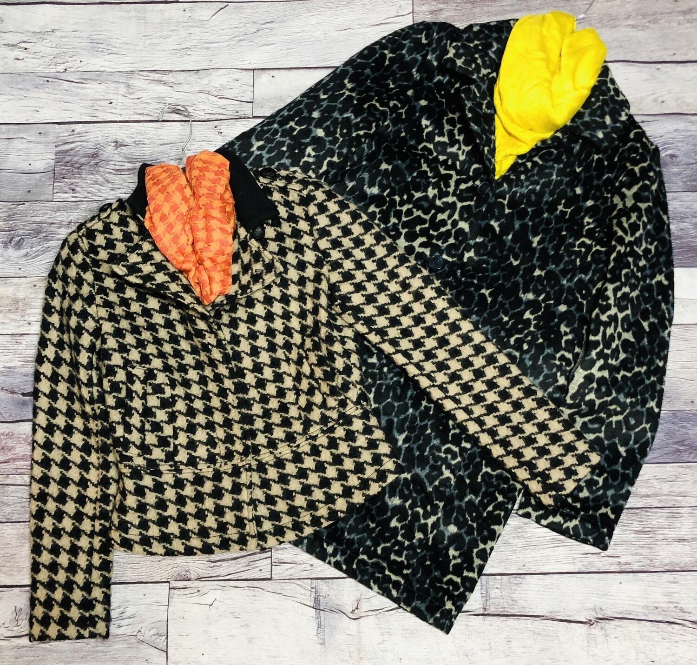 BANANA REPUBLIC Beige & Black Houndstooth  Wool Jacket XS