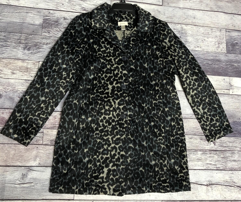 New Ann Taylor LOFT Animal Print Wool Coat size Large $119
