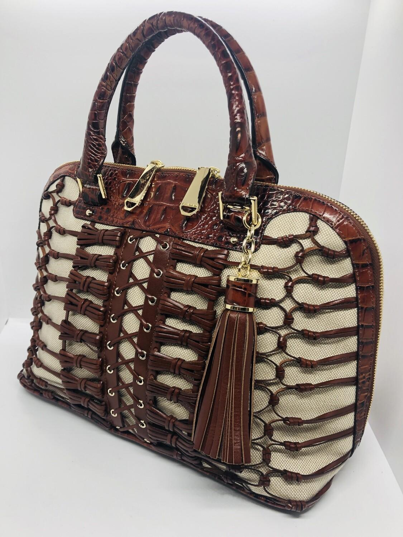 BRAHMIN Peacan Woven Leather Bow Satchel Handbag