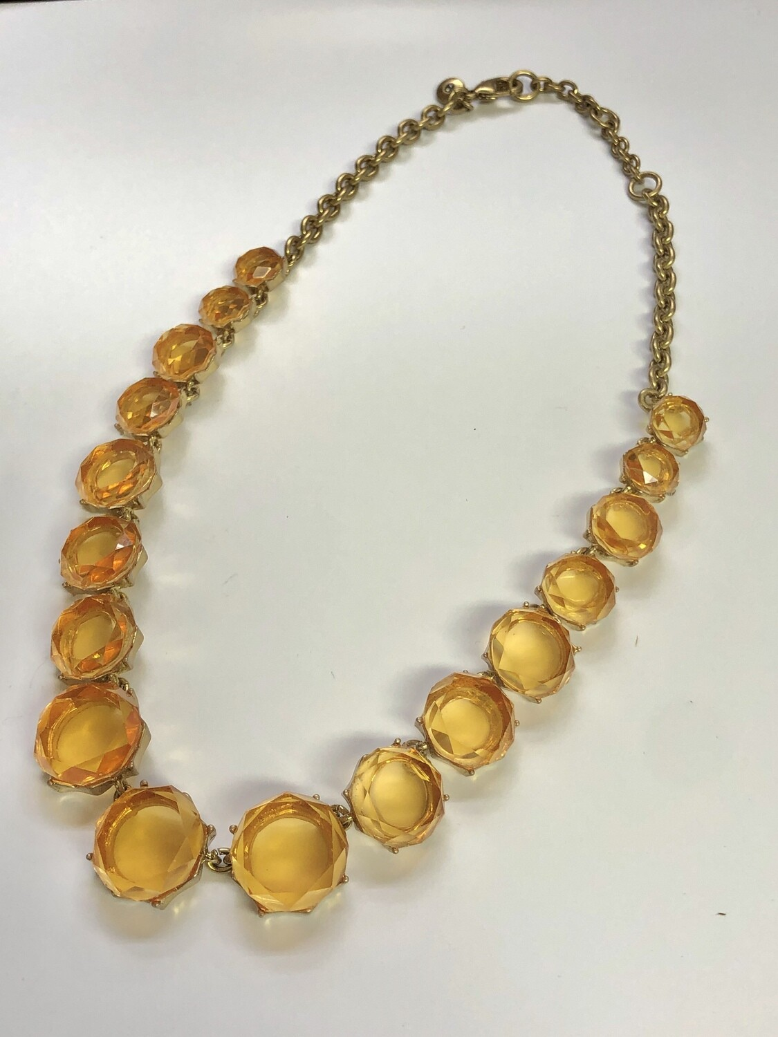 J CREW Amber Gold Stone Statement Necklace