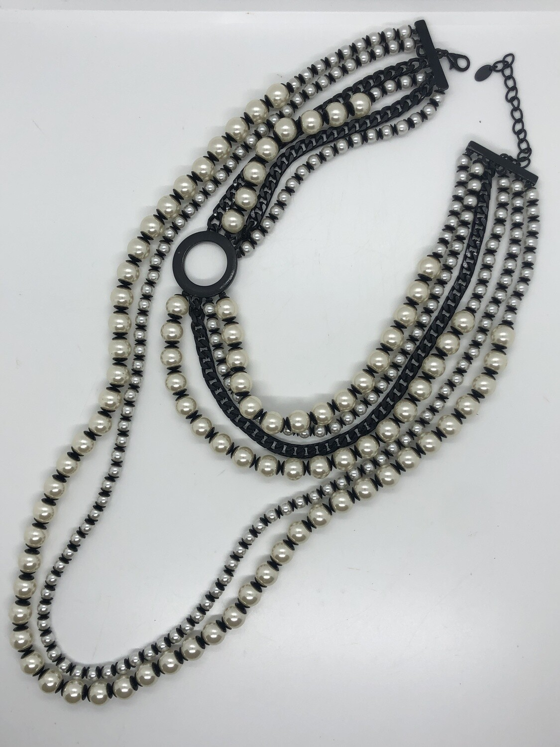 ZARA Pearl & Black Multi Strand Long Necklace